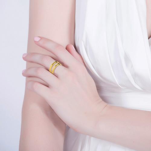 Bague 2 anneaux personnalisée prénom – Argent – Plaqué or – Plaqué or rose 18 carats