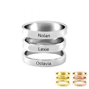 Bague 3 anneaux personnalisés