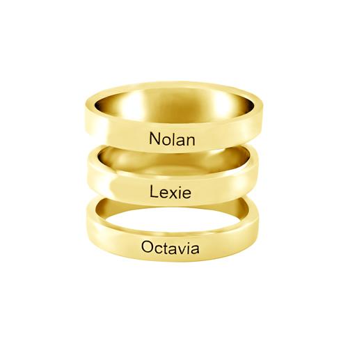 Bijou personnalisée bague personnalisable avec 3 prénoms vous pourrez graver une inscription sur chacun des 3 anneaux qui compose la bague