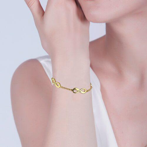 bracelet infini 3 pendentifs personnalisé NDXOF