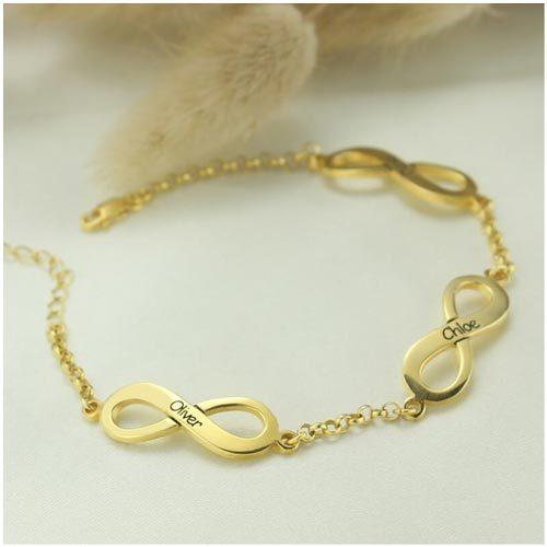 Bracelet infini 3 prénoms en plaqué Or 18 carats