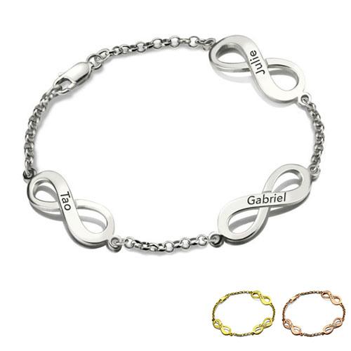 Bracelet Infini 3 pendentifs à personnaliser bracelet prénom disponible en argent plaqué Or / plaqué Or rose 18 carats sur notre boutique