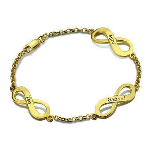 Bracelet prénom Infini 3 pendentifs en plaqué Or 18 carats il est aussi disponible en Argent 925 et en plaqué or rose 18 carats dans notre magasin