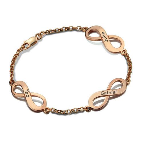 Bracelet Infini 3 pendentifs plaqué Or rose 18 carats disponible aussi en Argent Massif 925 - Plaqué or 18 carats dans notre magasin