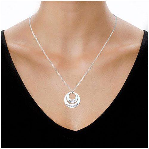 Collier prénom 2 anneaux à personnaliser en Argent plaqué Or / plaqué Or 18 carats bijoux personnalisables