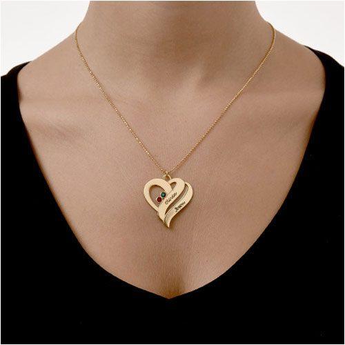 Collier en forme de coeur personnalisé avec deux prénoms de votre choix