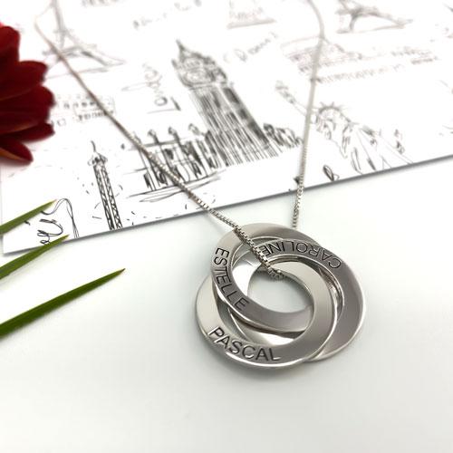 Collier 3 anneaux personnalisé en plaqué or et en argent 925