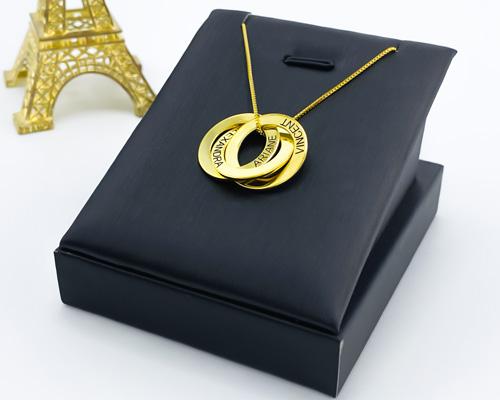 Bijou collier 3 anneaux personnalisé en plaqué Or