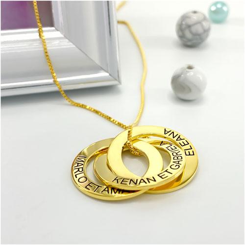 Cadeau personnalisable collier 3 anneaux personnalisé en plaqué Or 18 carats