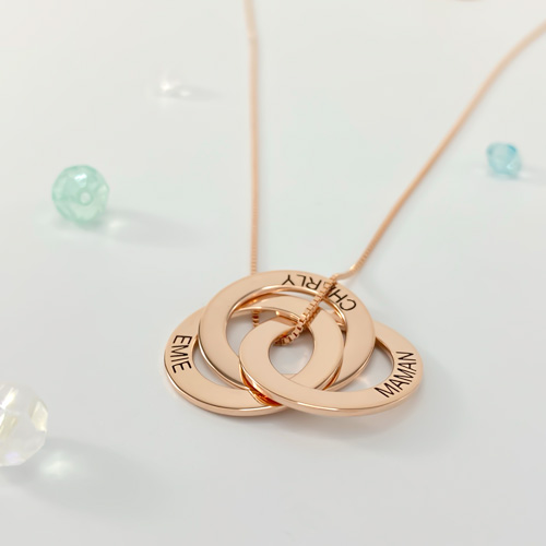 bijou personnalisé collier 3 anneaux personnalisé en plaqué Or Rose 18 carats