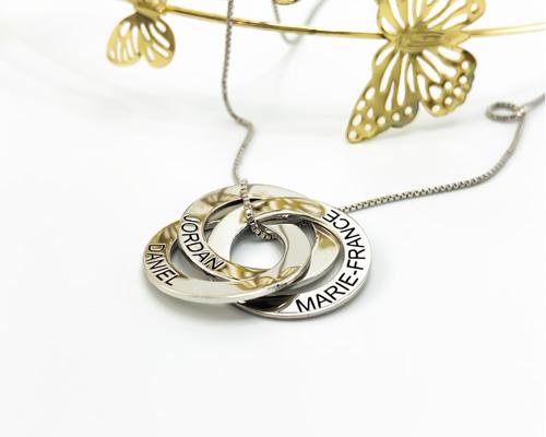 Collier 3 anneaux personnalisé en plaqué en argent
