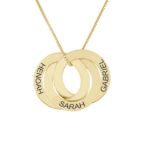 Collier personnalisé prénom 3 anneaux en or 18 carats