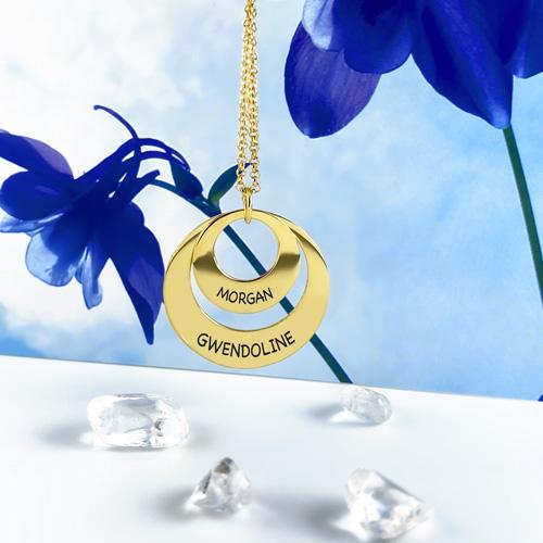 Collier disque en argent à personnaliser, créez votre collier personnalisé avec 2 prénoms