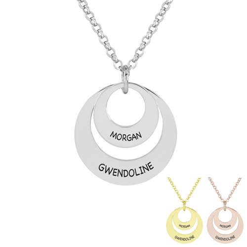 Collier 2 disques à personnaliser, créez votre collier personnalisé avec 2 prénoms