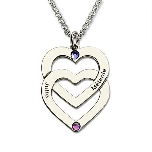 Portez au plus près de votre cœur les prénoms de ceux que vous aimez ! avec ce sublime collier personnalisé 2 coeurs avec 2 pierres de naissance