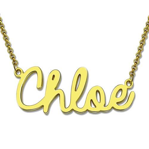 Collier prénom style cursif plaqué Or carats collier personnalisable, disponible aussi en Argent et en plaqué Or rose 18 carats