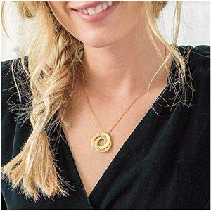 Collier 3 anneaux personnalisé 3 prénoms en argent plaqué or plaqué or rose
