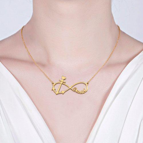 Collier prénom Infini Ancre Marine - La boutique MAB - Argent - Plaqué or - Plaqué or rose 18 carats