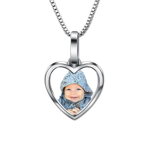Collier photo coeur à personnaliser en Argent 925, c'est le cadeau idéal pour faire plaisir à votre maman en y ajoutant une photo exceptionnelle