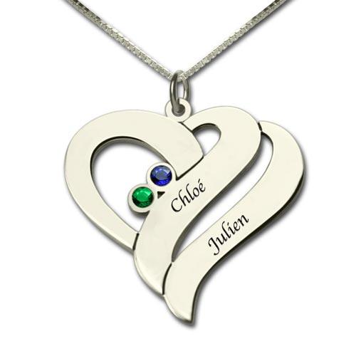 Collier coeur 2 pierres de naissance en plaqué Or 18 carats à personnaliser avec 2 prénoms et deux pierre de naissance de votre choix