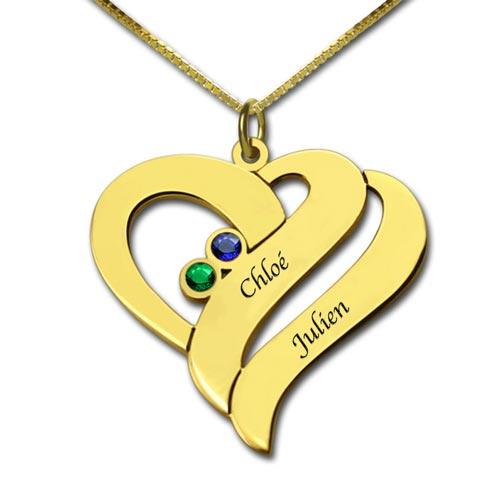 Collier prénom 2 cœurs à personnaliser avec 2 prénoms et 2 pierres de naissance, c'est le cadeau personnalisé idéal à offrir pour la fête des mères