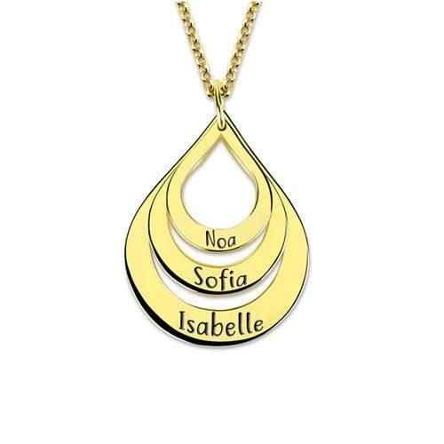 Collier 3 gouttes d'eau à personnaliser en Plaqué Or 18 carats, ce jolie collier est aussi disponible en Argent Massif et en plaqué Or rose 18 carats