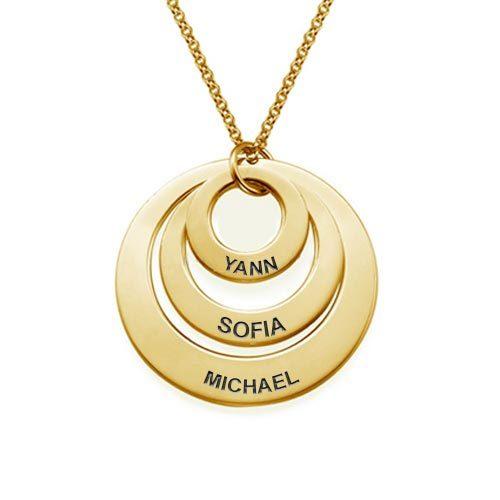 Collier prénom 3 disques en plaqué Or 18 carats, Ce magnifique collier avec 3 disques personnalisables est disponible en Argent 925 et en plaqué Or rose