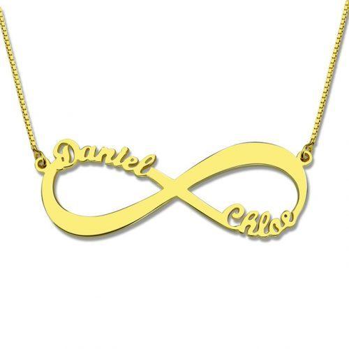 Collier infini deux prénoms plaqué Or ce collier personnalisable infini est aussi disponible en Argent Massif et en plaqué Or rose 18 carats