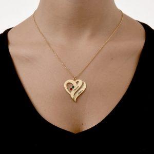 Collier coeur pierre de naissance en plaqué Or rose 18 carats