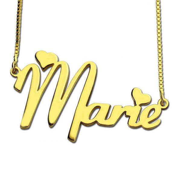 Collier prénom 2 cœurs en plaqué Or 18 carats, rendez ce joli collier unique en y ajoutant votre prénom ou celui d'une personne chère a votre coeur