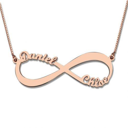 Collier infini 2 prénoms à personnaliser - By La boutique MAB - Argent - Plaqué or - Plaqué or rose