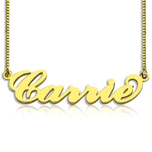 Collier prénom Carrie Bradshaw en plaqué Or 18 carats collier personnalisé