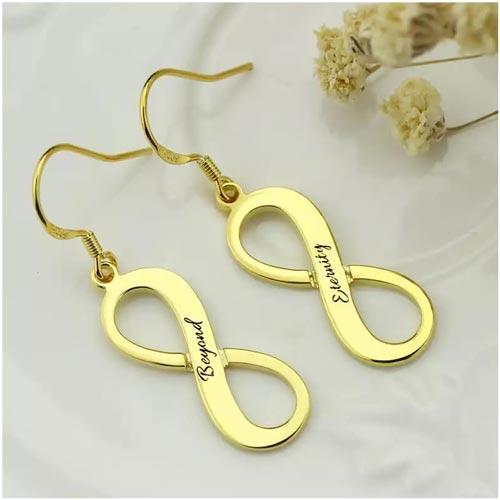 Boucles d'oreilles prénom infini personnalisée, disponible en Argent Massif 925, plaqué Or, ou plaqué Or rose 18 carats