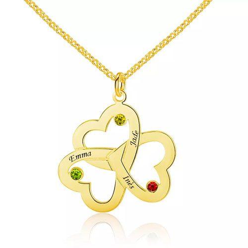 Collier 3 cœurs entrelacés à personnaliser OR 18 carats pour offrir à l'occasion de la saint Valentin