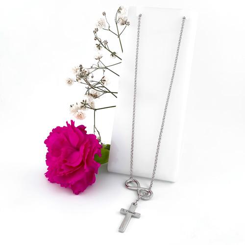Collier croix à personnaliser en argent massif pour femme