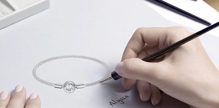 Dessin bracelet à charms sphère en Argent 925