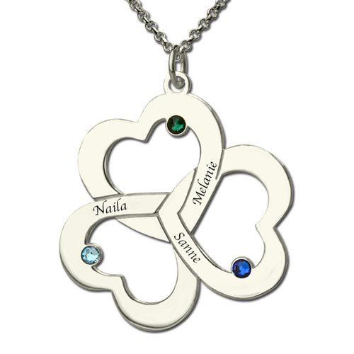 Collier 3 cœurs entrelacés à personnaliser avec 3 prénoms et 3 pierres de naissance disponible en Argent Massif 925 ou Plaqué Or 18 carats