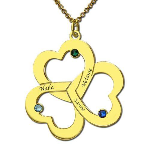 Collier 3 cœurs entrelacés 3 prénoms et pierres de naissance à personnaliser - disponible en Argent Massif 925 ou Plaqué or 18 carats