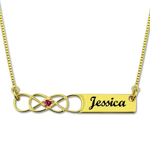 Laissez-vous séduire par ce joli collier prénom infini personnalisé en plaqué Or 18k, ajoutez-y votre prénom ou celui d'une personne chère à votre coeur