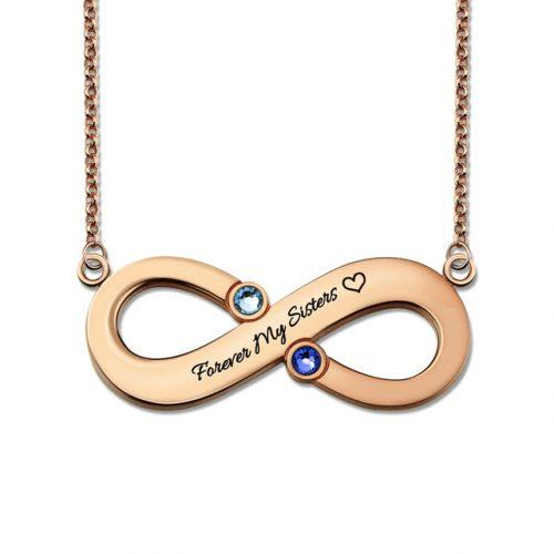 Collier coeur Infini à personnaliser - avec message et perle porte bonheur - By La boutique MAB