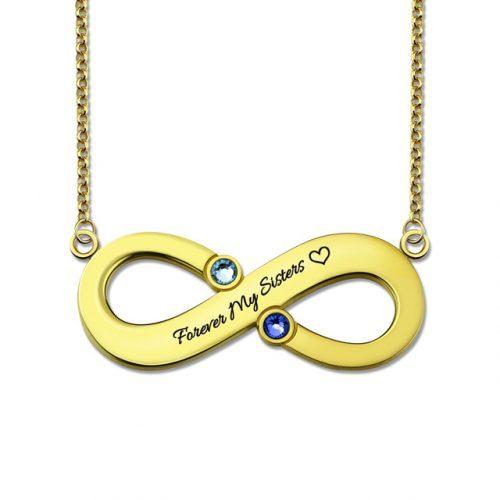 Collier Infini message à personnaliser plaqué Or 18 carats, ce joli collier est aussi disponible en Argent 925, ou plaqué Or rose 18 carats