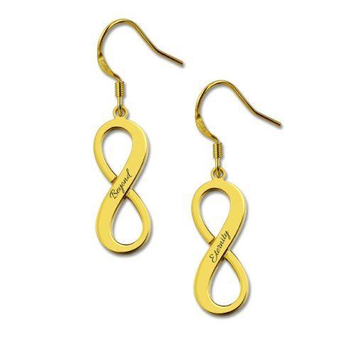 Boucles d'oreilles infini en plaqué or 18 carats le cadeau idéal à personnaliser et à offrir à votre meilleure amie, ou bien à votre bien-aimé