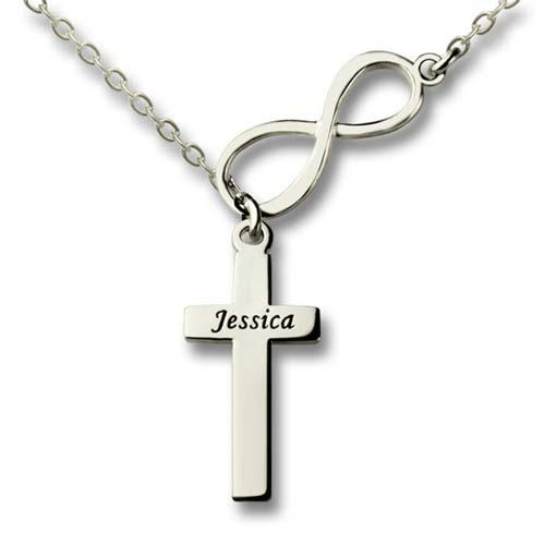 Collier infini croix à personnaliser avec prénom Argent, un symbole fort, et intemporel, à offrir pour un baptême, une communion ou à une personne croyante