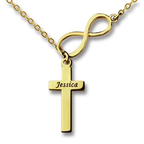 Collier infini croix à personnaliser avec prénom