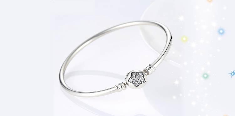 Bracelet jonc étoile en Argent Massif 925
