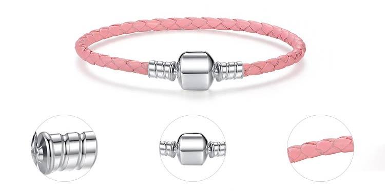 Bracelet charm en Cuir et Argent Massif 925