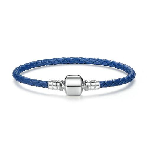 Bracelet charm en cuir tressé bleu