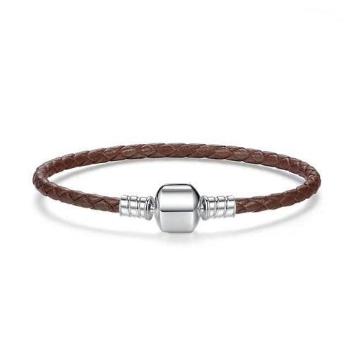 Bracelet charm en cuir tressé marron