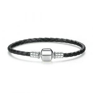 Bracelet charm en cuir tressé