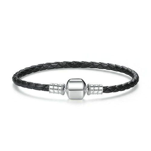 Bracelet charm en cuir tressé noir en Argent Massif 925 •Ce bracelet est compatible avec : les charms Pandora,charms Soufeel,Happy Charms,Troll Beads.